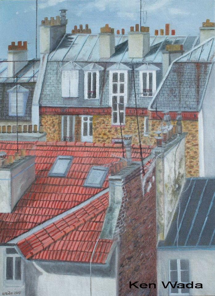 huile sur toile les toits de paris la galerie de ken wada 1. Black Bedroom Furniture Sets. Home Design Ideas