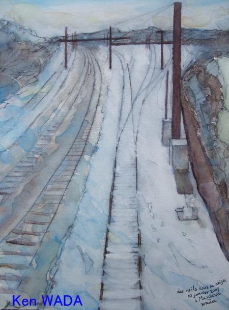 Les rails sous la neige