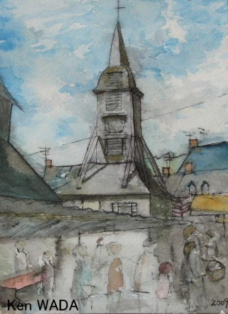 Le clocher et le marche de la place Sainte-Catherine